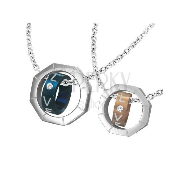 Két darab medál - anyacsavar és színes gyűrűk