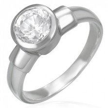 Acél eljegyzési gyűrű - nagy kerek cirkónia