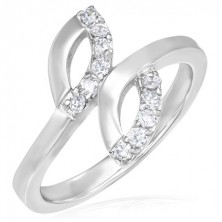 Acél eljegyzési gyűrű - két könnycsepp és apró cirkóniák