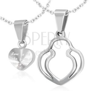Medálok pároknak - ezüst szív, dupla körvonal, cirkónia