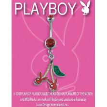 PLAYBOY piercing belly ring - két piros Bunny cseresznyével