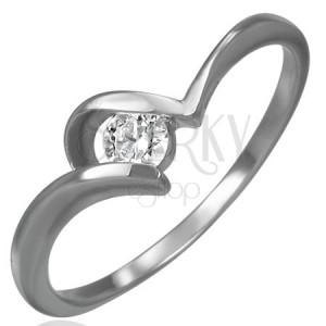 Acél eljegyzési gyűrű - cirkónia U alakú befogatban