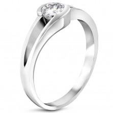 316L acél eljegyzési gyűrű - csillogó cirkónia a kivágásban