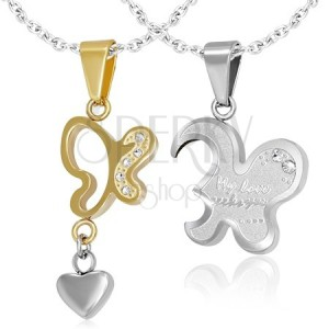 Két lepke medál - arany és ezüst színben, szívecske