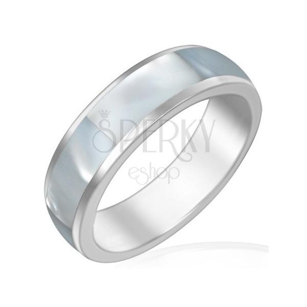 Acél karikagyűrű - gyöngyházfény ragyogással