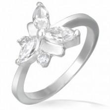 Eljegyzési gyűrű, acél - cirkónia pillangó