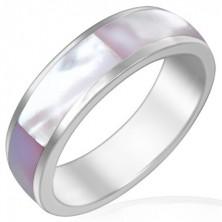 Acél karikagyűrű - rózsaszín gyöngyházfényű