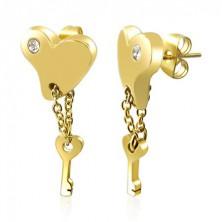Aranyozott fülbevaló acélból - szív és kulcs láncon