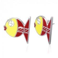 Bedugós acél fülbevaló - piros és sárga, szerelmes halacska