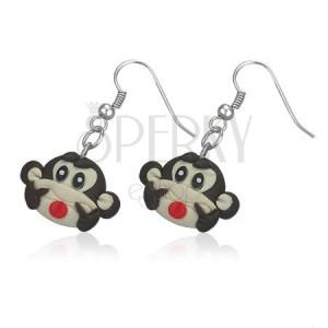 Fimo fülbevaló - vidám barna majomfej
