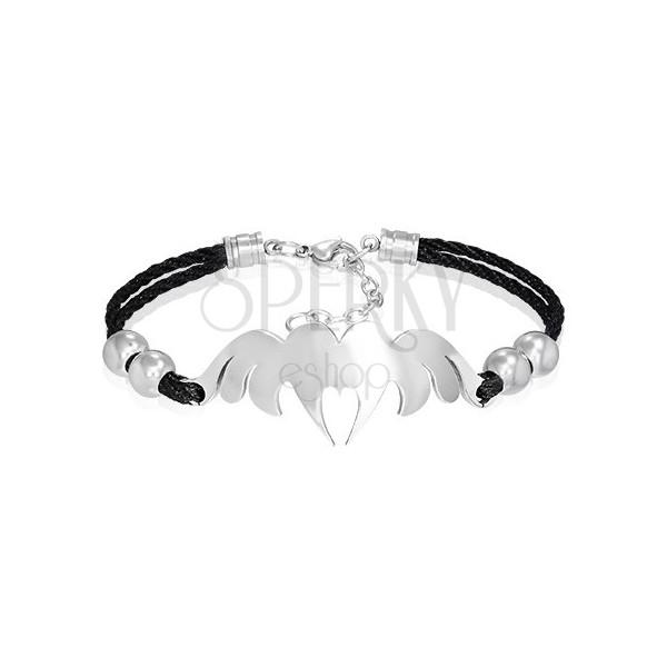 Karkötő - acél szív angyali szárnyakkal, fekete zsinór
