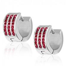 Acél fülbevaló - három piros cirkóniás sáv