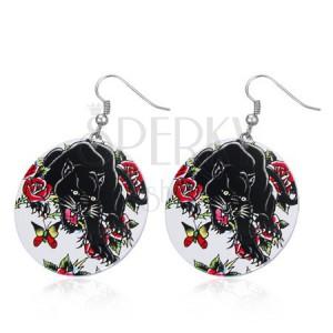 Acél fülbevaló - nagy körlap, fekete párduc, rózsa, pillangó