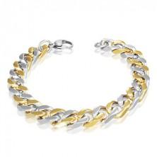 Acél karlánc - váltakozó arany és ezüst láncszemek