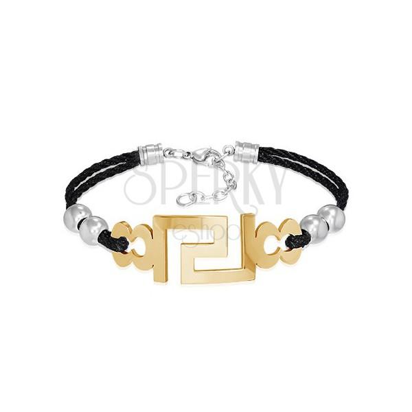 Háromszínű karkötő - acél görög kulcs