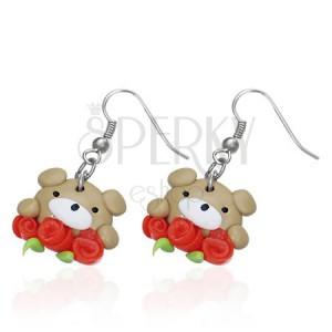 FIMO fülbevaló - barna mackó három rózsával
