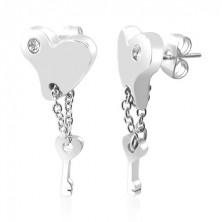 Szív fülbevaló acélból - kulcs és lánc