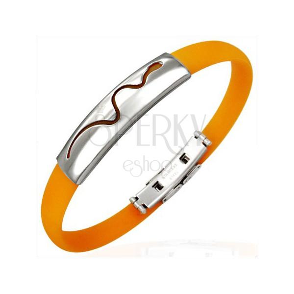Kígyómintás gumi karperec - narancssárga