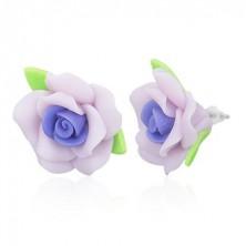 Bedugós FIMO fülbevaló - lila rózsa levelekkel