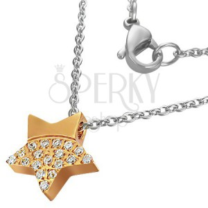 Nemesacél nyaklánc - fénylő arany csillag és cirkóniák