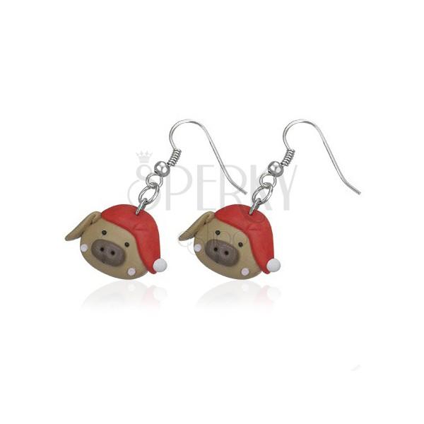 FIMO fülbevaló - malacka piros sapkában