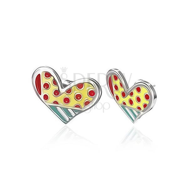 Zománcozott acél fülbevaló - pöttyös asszimetrikus szív