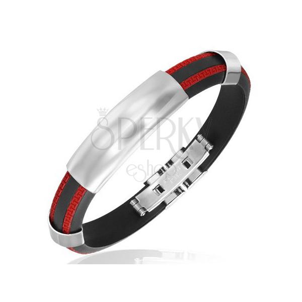 Fekete kaucsuk karkötő - fényes fémlap, két piros sáv, meander