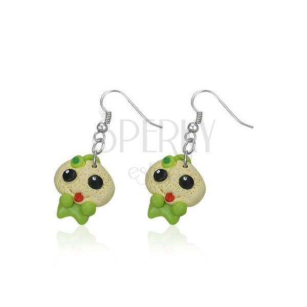 Függő FIMO fülbevaló - baby zöld rugdalódzóban