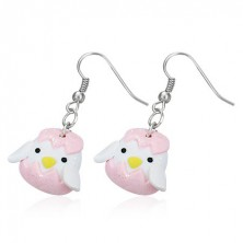 Függő fimo fülbevaló - fehér kiscsirke, rózsaszín tojáshéj