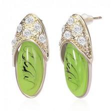 Ovális fülbevaló - arany és zöld papucska, cirkóniák