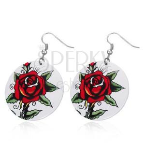 Acél fülbevaló - nagy fehér körlap, vörös rózsa