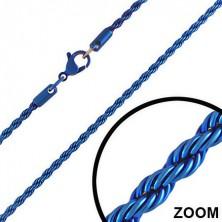 Anodizált acél lánc - kék, tekert kötél, 3 mm