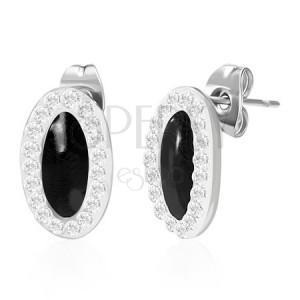 Ovális acél fülbevaló - fekete, cirkónia szegély