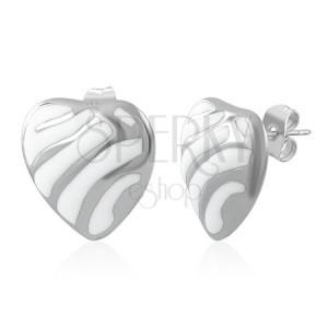 Zománcozott szív fülbevaló acélból - ezüst vonalak