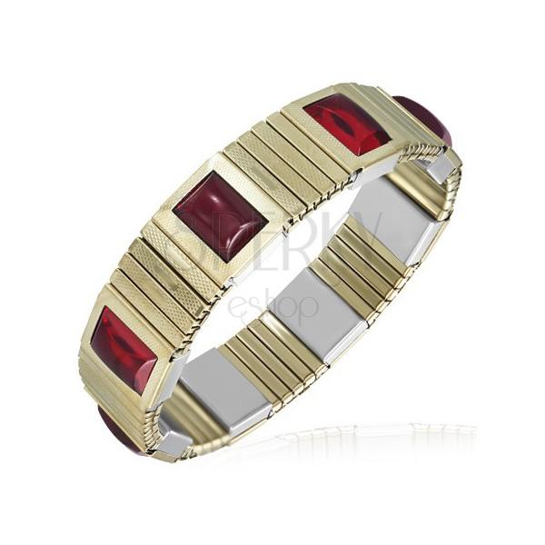 Rugalmas acél karkötő - arany cikkek, piros kövek