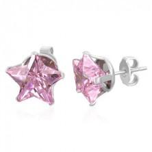 Bedugós fülbevaló - fénylő rózsaszín csillag, 10 mm