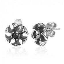Kis acél fülbevaló - lótuszvirág, fekete cirkónia