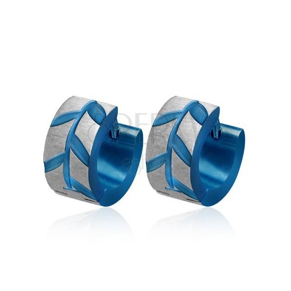 Kék acél fülbevaló - csiszolt Akácfa levelek