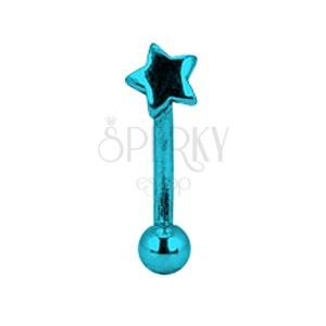 Anodizált szemöldök piercing - kék csillag