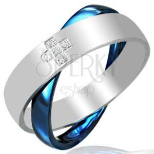 Acél kettős gyűrű, kék - ezüstszínü