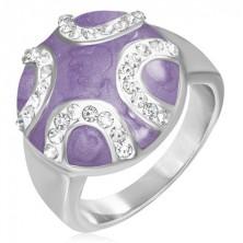 Acél gyűrű - kiálló lila félkör, cirkon köves félholdak