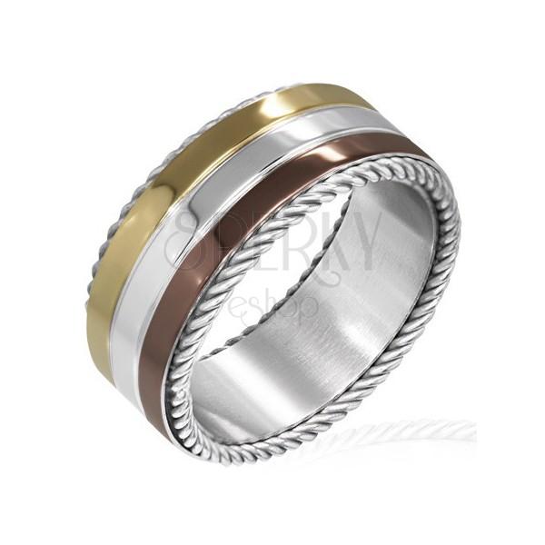 Háromszínű nemesacél gyűrű -a szélén tekert acélfonallal