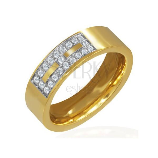 Aranyozott acél gyűrű - cirkonkő minta