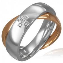 Dupla acél gyűrű - cirkónia kereszt, ezüst - aranyszínű