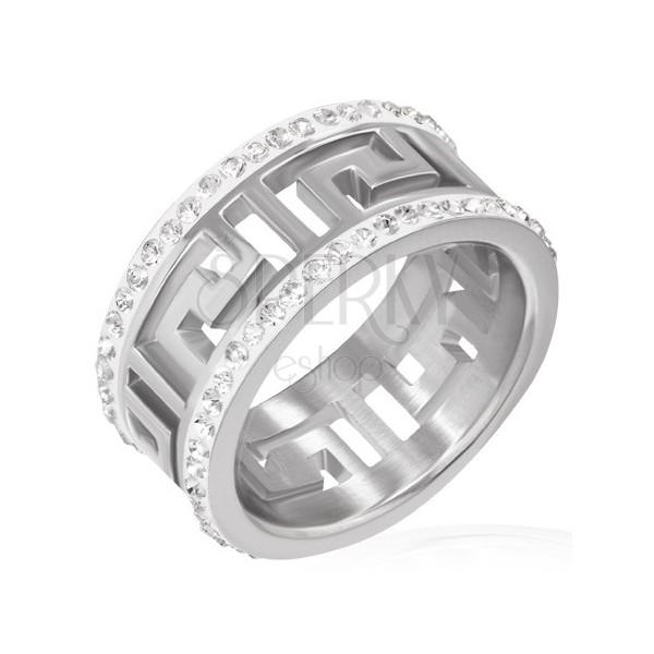 Fényes nemesacél gyűrű - kivágott görög szimbólum, cirkóniák