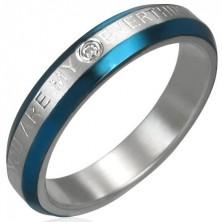Eljegyzési gyűrű - kék övek, cirkónia, felirat