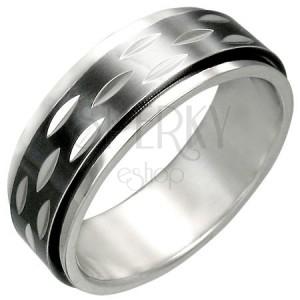 Nemesacél gyűrű - mozgatható fekete rész