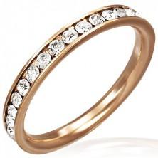 Aranyló gyűrű - rózsaszín arany színben, átlátszó cirkóniákkal kirakva
