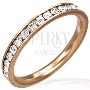 Aranyló acél gyűrű - áttetsző cirkóniaöv