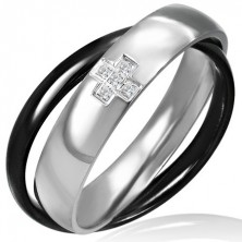 Dupla acél gyűrű - fekete és ezüst, kereszt